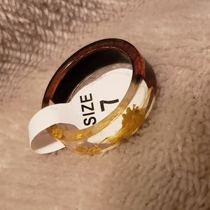 Wood/Clear Floral Ring